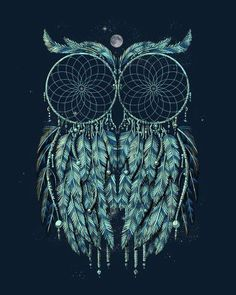 """""""Owl: I think I can see two dream catchers in there, can't you?) Mo Have to make this!"""" thinking maybe this instead of a sugar owl to match my sugar skull thigh tattoos Owl Dream Catcher, Dream Catcher Tattoo, Dream Catchers, Tattoo Heaven, Henne Tattoo, Bild Tattoos, Psy Art, Owl Pet, Tatoo Art"""