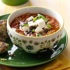 Southwest Vegetarian Lentil Soup Recipe from Taste of Home #slow_cooker  #crockpot