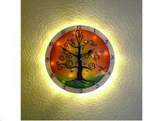 Life of Tree Lighted Wall Clock, Large, Silent Hand Painted Glass Wall Clock Living Room Decor Tree, Tree Wall Decor, Living Room Paint, Wall Clock Glass, Wall Clock Light, Wall Clocks, Hand Painted Walls, Tree Lighting, Light Up