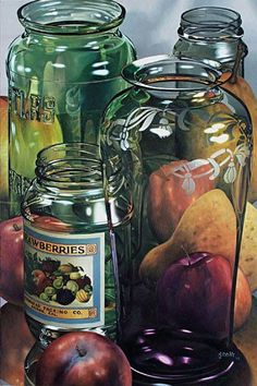 Water colour still life. Amazing, it looks like a photo! Reflection Art, Hyper Realistic Paintings, Still Life Fruit, Guache, Painting Still Life, Photorealism, Art Plastique, Watercolor Paintings, Watercolour