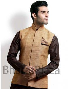 Admirable Jute Fabric Waist Coat Item code : NJ1115  http://www.bharatplaza.com/mens-wear/coats/admirable-jute-fabric-waist-coat-nj1115.html