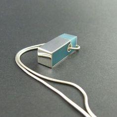 Turquoise hars hanger ketting zilver rechthoek door MissSilver