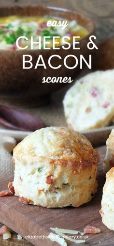 Easy Cheese and Bacon Scones Easy Cheese and Bacon Scones Breakfast Recipes, Snack Recipes, Cooking Recipes, Snacks, Bread Recipes, Scone Recipes, Pastry Recipes, Cheese Scones, Savory Scones
