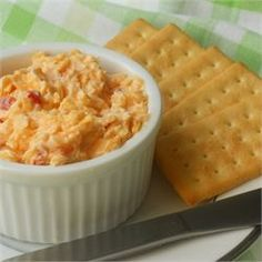 Southern Pimento Cheese -(Allrecipes.com) Use for grilled cheese sandwiches, spread for crackers, etc.