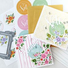 Mini Floral Enclosure Cards by Danielle Flanders for Papertrey Ink (April 2016)