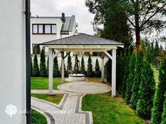 Drewniana altana ogrodowa z pokryciem gontem bitumicznym / Zakład Stolarski Poznań Gazebo, Outdoor Structures, Garden, Kiosk, Garten, Pavilion, Lawn And Garden, Gardens, Cabana