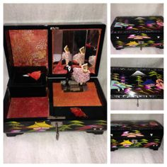 Japanese Black Lacquer Geisha Dancer lighted musical jewelry box