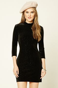 A velveteen mini dress featuring a sparkling glitter finish, a mock neck, sleeves, and a button back with keyhole detail. 15 Dresses, Evening Dresses, Short Sparkly Dresses, Long Sleeve Mini Dress, Photos Of Women, High Neck Dress, Bodycon Dress, Lady, Trendy