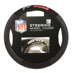 NFL Poly-Suede Steering Wheel Cover - Buffalo Bills  http://allstarsportsfan.com/product/nfl-poly-suede-steering-wheel-cover/?attribute_pa_teamname=buffalo-bills  Fits Most 14″ to 15″ Steering Wheels Team Logo at the Top of the Cover Attaches Snugly