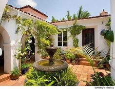 Yes indeed. A tiled courtyard with a fountain, arched patio  shade for my plants is a must for my casita.