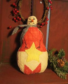 Handmade SNOWMAN Decoration - Prim Shelf Sitter - Antique Quilt - Christmas