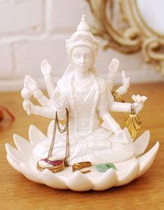 Goddess on Lotus Flower Jewelry Holder by imm Living Deco Originale, Porcelain Jewelry, Ceramic Jewelry, Jewelry Holder, Jewelry Storage, Jewelry Stand, Jewellry Box, Diy Jewelry, Dot And Bo