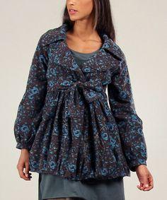 Turquoise & Anthracite Judith Floral Jacket #zulily #zulilyfinds