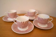 Stig Lindberg / Bibi Breger Red Salix Cups by InteriorComponents