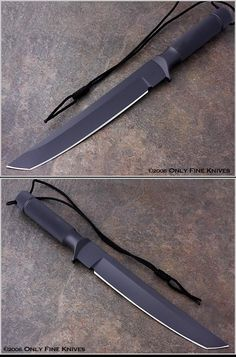 Chris Reeve Tanto Over All Length 13 3/4 in Blade Length 9 in Lanyard Black nylon Blade & Frame Material A2 tool steel Sheath Leather wraparound Scale Material N/A Weight 16 oz