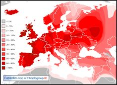 Distribution of haplogroup R1 in Europe