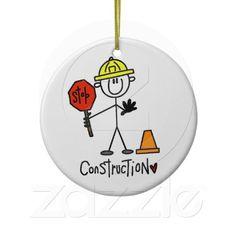 Construction Worker Stick Figure Ornaments