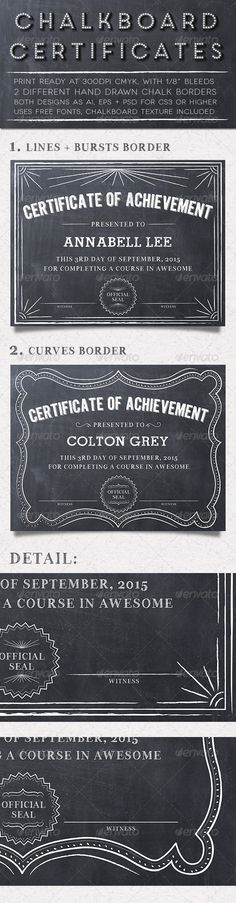 free certificate template powerpoint   Google Search   american     The Chalkboard Certificates   PSD Template