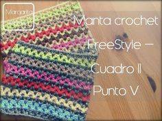 Manta a crochet Freestyle cuadro 11: punto V (diestro) - YouTube