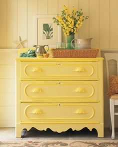 """By itself, the citron yellow on this Victorian chest seemed pallid. But a rich, honeyed drawer trim -- not an obvious choice -- galvanized it. """"The greater the chance you take with yellows,"""" says Stephen Earle, """"the greater the reward."""""""