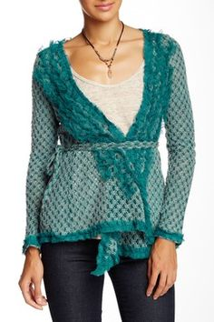 Open Weave Wrap Sweater