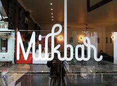 Creative Logo, Milkbar, Logotype, Lettering, and Logos image ideas & inspiration on Designspiration Inspiration Typographie, Typography Inspiration, Graphic Design Inspiration, Typography Love, Typography Letters, Graphic Design Typography, Typo Logo, Burger Bar, Editorial Design