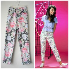 80s High Waisted Pastel Floral Jeans, Straight/Slim Cut Denim by RetroOnTheRocks // Hipster Soft Grunge, Saved By The Bell, Pastel Goth Style