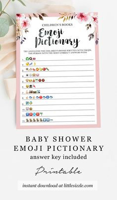 Emoji Pictionary for Baby Shower Girl Printable Blush Floral Baby Emoji Pictionary Game Download DIY by LittleSizzle. Are you looking for a fun girl baby shower game? Play Emoji Pictionary with this beautiful blush floral Children's Book Emoji Pictionary game with watercolor flowers. The game is perfect for your girl baby shower. Guess the names of the children's book described using emojis. Answer key included. Instant download, print at home or at your favorite print shop. #girlbabyshowergames Baby Shower Printables, Baby Shower Invitations, Party Printables, Baby Shower Games Unique, Unique Baby, Wishes For Baby Cards, Baby Shower Diapers, Floral Baby Shower
