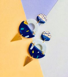 Colourful 80s Earrings. Handmade. Unique. Geometric. Semi Circle. Terrazzo. Confetti. Sprinkles. Nu Wave. 80s. Retro. Blue. Brass.