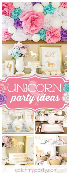 Take a look at this gorgeous Unicorn birthday party! The table settings are beautiful!! See more party ideas and share yours at CatchMyParty.com
