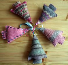 Felted sweater scraps? Love the different patterns-definitely inspiration!
