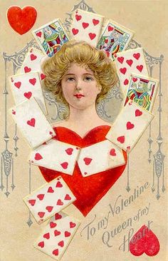 Vintage Valentines Postcard Woman Hearts Playing Cards Hearts Queen of My Heart Valentine Images, My Funny Valentine, Vintage Valentine Cards, Saint Valentine, Vintage Holiday, Valentine Cupid, Valentine Hearts, Valentine Ideas, Valentine's Day Greeting Cards