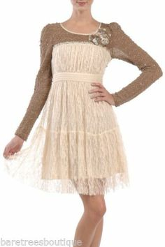 Cream Lace Floral Detail Embellished Cocktail Party Dress  RYU from BareTrees Boutique Size S M L- $99