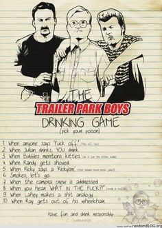 trailer park boys drinking game