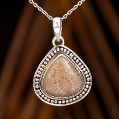 """FOSSIL CORAL 925 SOLID STERLING SILVER AMAZING PENDANT 7.48g DJP8993 L-1.50"""" #Handmade #Pendant"""