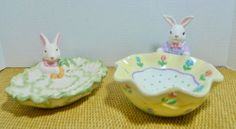Easter Candy Dishes Set of Two Bunnies Spring themed bowls