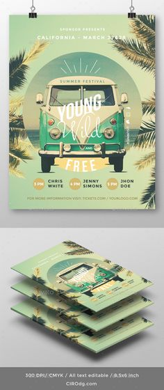 Young Wild and Free  Summer Flyer — Photoshop PSD #beach #festival • Download ➝ https://graphicriver.net/item/young-wild-and-free-summer-flyer/20394332?ref=pxcr
