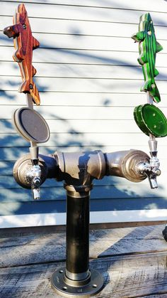 2 Tap Draft Beer Tower Black Iron Pipe Custom by TheRusticWhale, $260.00