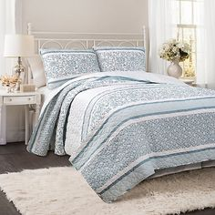 Lush Décor Nisha Reversible Quilt Set in Blue | Bed Bath & Beyond