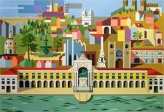 LISBOA - Painting,  50x70 cm ©2010 por José Cardoso -  Pintura, Outro, Outro, A cidade de Lisboa e os seus principais monumentos vistos do Rio Tejo