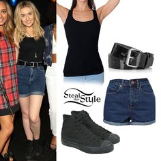 Perrie Edwards visited the 102.7 Kiss FM Studios with her bandmates last week wearing a tank similar to the American Apparel Rib U-Neck Tank ($10.00), shorts similar to ASOS High Waist Mom Shorts ($51.85), a Topshop Patent Hole Punch Belt (sold out) and a pair of Converse Chuck Taylor All Star Monochrome Sneakers ($42.90-$50.00).