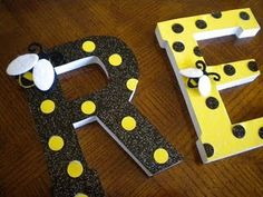 "Wooden letters, scrapbook paper, and Modpodge to spell ""READ"" attach little bees to each letter. Really cute and could be used for diff things."