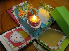 Happy Birthday Explosion Box Card using tea light (available at craft stores, e. Video lacks step-by-steps, but offers a neat idea. Birthday Explosion Box, Birthday Box, Birthday Cards, Happy Birthday, Silhouette Cameo, Cadeau Surprise, Exploding Box Card, Pop Up Box Cards, Fancy Fold Cards