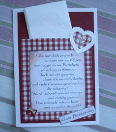 Gute Besserung Get Well Soon, Pocket Letters, Homemade Gifts, Diy Gifts, Little Gifts, Small Gifts, Stamping Up, Cardmaking, Hedwig