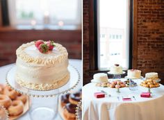 Simple wedding cakes. Love! View more from this gray, pink, and blue Chattanooga wedding photographed by @benfinch at @TheChurchonMain! Flowers by @mayflowerscha | The Pink Bride www.thepinkbride.com