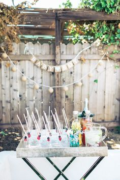 Champagne bar cart for a baby shower - The Style Editrix