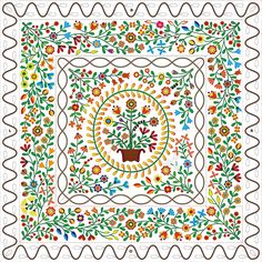 Applique Auntie Green 2016 Linde Pype Draw Handwork and quilting