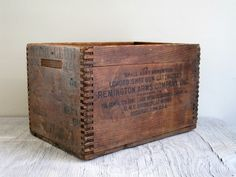old wooden ammo boxes   Vintage Wood Box - Remington Ammo Wood Crate - Industrial Storage