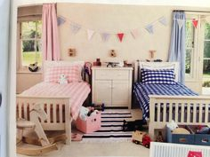 colorful shared bedroom for boy and girl. For the bet result in designing and decorating shared bedroom for boys and girls required creativity and har Twin Girl Bedrooms, Boy Girl Bedroom, Girl Bedroom Designs, Girl Room, Bedroom Ideas, Twin Girls, Twin Room, Blue Bedroom, Bedroom Bed