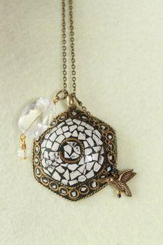 Natural Spirit Quartz Pendant antique mosaic by HavenHummingbird, $35.00